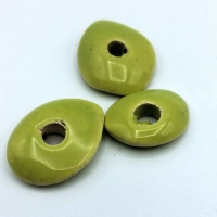 6 x Greek ceramic beads flat donught 15x8mm - green